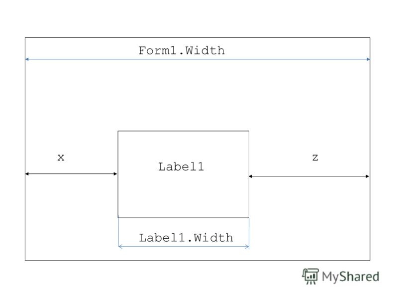 Label1 xz Label1.Width Form1.Width