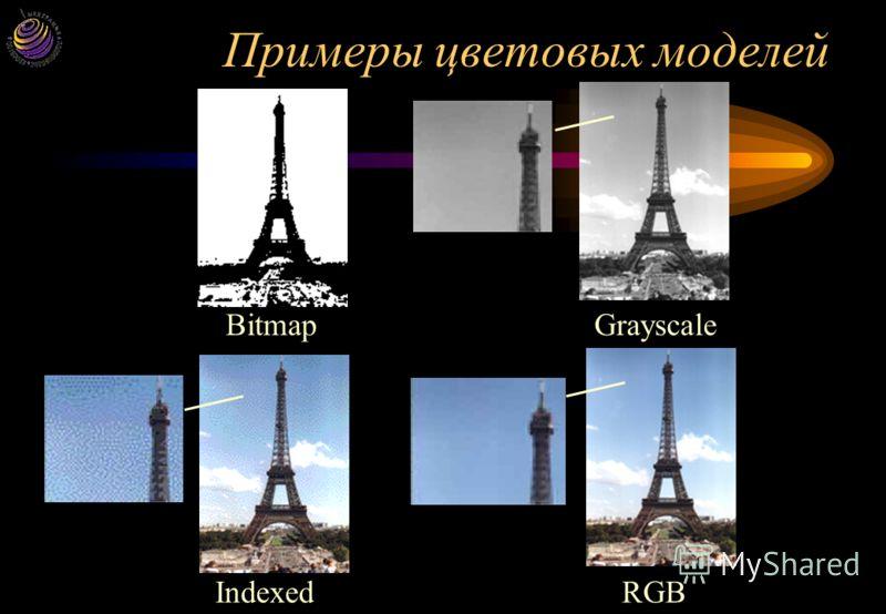 Цветовые модели и глубина цвета Монохромные: Битовая (Bitmap, LineArt, Black-and-White) – 1 б/п Полутоновая (Halftone) – 1 б/п Градации серого (Grayscale) – 8 б/п Цветные: Индексная (Indexed) – 2-8 б/п Полноцветные: Аддитивная RGB – 24 б/п Аддитивная