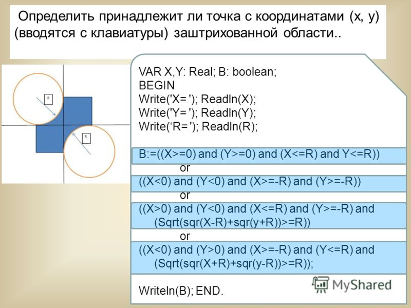 25 Определить принадлежит ли точка с координатами (х, у) (вводятся с клавиатуры) заштрихованной области.. VAR X,Y: Real; B: boolean; BEGIN Write('X= '); Readln(X); Write('Y= '); Readln(Y); Write(R= '); Readln(R); B:=((X>=0) and (Y>=0) and (X0) and (Y