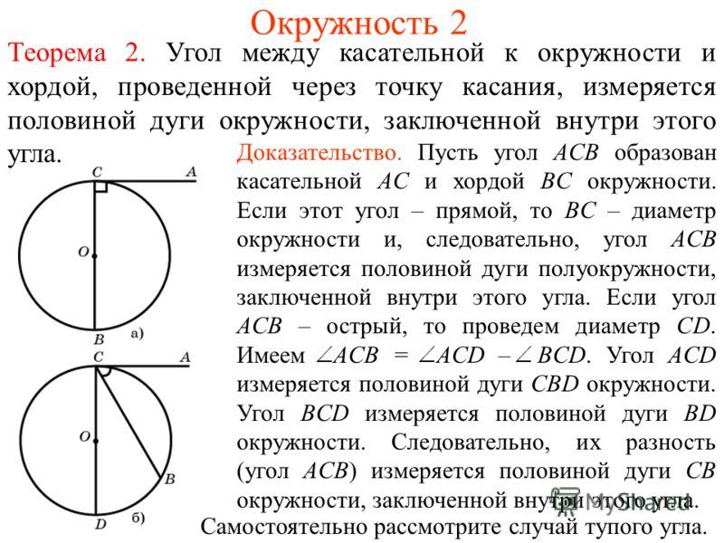 Окружность 2 Теорема 2. Угол между касательной к окружности и хордой, проведенной через точку касания, измеряется половиной дуги окружности, заключенной внутри этого угла. Доказательство. Пусть угол ACB образован касательной AC и хордой BC окружности