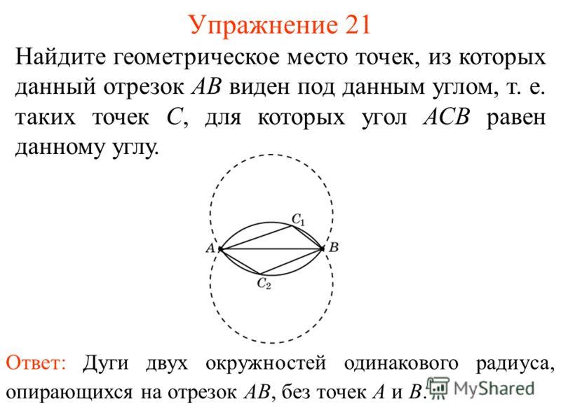 Упражнение 21 Найдите геометрическое место точек, из которых данный отрезок АВ виден под данным углом, т. е. таких точек С, для которых угол АСВ равен данному углу. Ответ: Дуги двух окружностей одинакового радиуса, опирающихся на отрезок AB, без точе