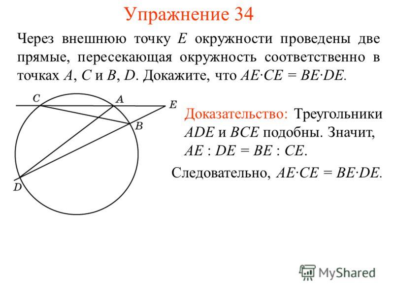 Упражнение 34 Через внешнюю точку E окружности проведены две прямые, пересекающая окружность соответственно в точках A, C и B, D. Докажите, что AE·CE = BE·DE. Доказательство: Треугольники ADE и BCE подобны. Значит, AE : DE = BE : CE. Следовательно, A