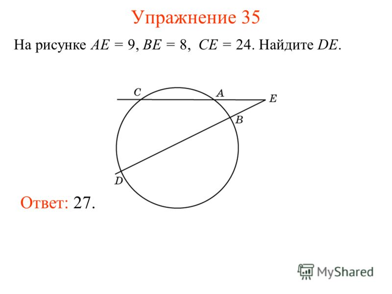 Упражнение 35 На рисунке AE = 9, BE = 8, CE = 24. Найдите DE. Ответ: 27.