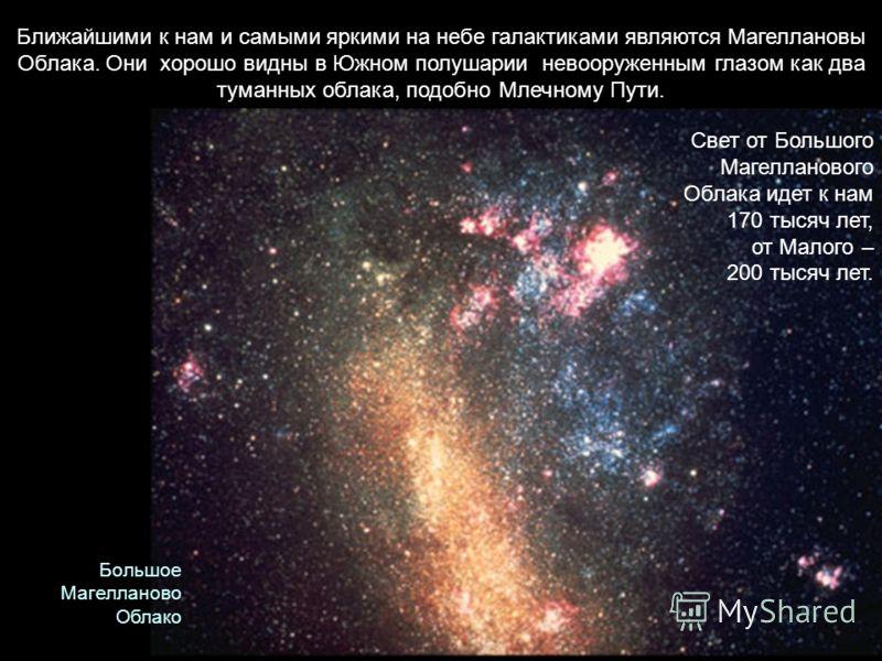 Ближайшими к нам и самыми яркими на небе галактиками являются Магеллановы Облака. Они хорошо видны в Южном полушарии невооруженным глазом как два туманных облака, подобно Млечному Пути. Свет от Большого Магелланового Облака идет к нам 170 тысяч лет,