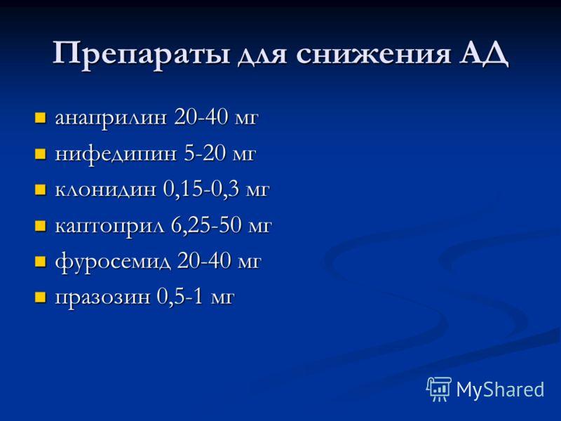 Препараты для снижения АД анаприлин 20-40 мг анаприлин 20-40 мг нифедипин 5-20 мг нифедипин 5-20 мг клонидин 0,15-0,3 мг клонидин 0,15-0,3 мг каптоприл 6,25-50 мг каптоприл 6,25-50 мг фуросемид 20-40 мг фуросемид 20-40 мг празозин 0,5-1 мг празозин 0