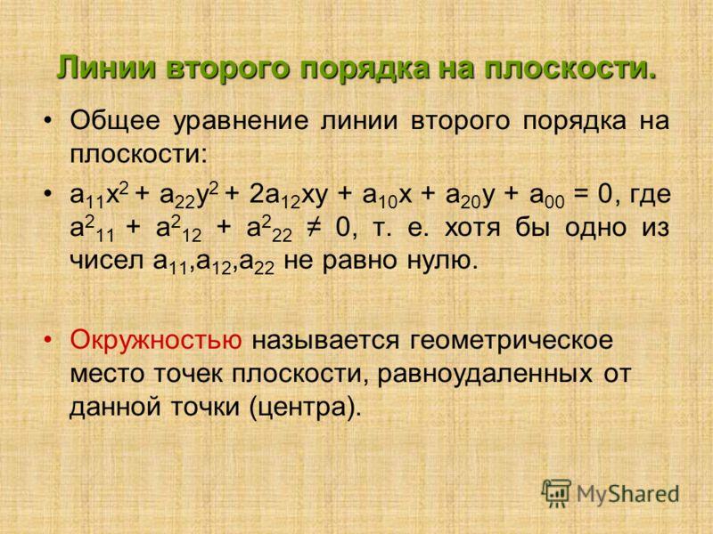 Линии второго порядка на плоскости. Общее уравнение линии второго порядка на плоскости: а 11 х 2 + а 22 у 2 + 2а 12 ху + а 10 х + а 20 у + а 00 = 0, где а 2 11 + а 2 12 + а 2 22 0, т. е. хотя бы одно из чисел а 11,а 12,а 22 не равно нулю. Окружностью