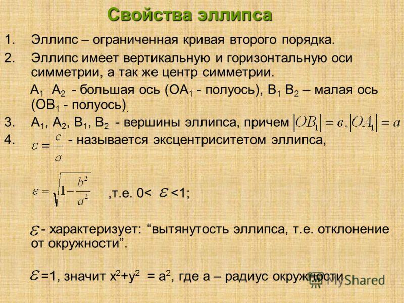 Свойства эллипса 1.Эллипс – ограниченная кривая второго порядка. 2.Эллипс имеет вертикальную и горизонтальную оси симметрии, а так же центр симметрии. А 1 А 2 - большая ось (ОА 1 - полуось), В 1 В 2 – малая ось (ОВ 1 - полуось). 3.А 1, А 2, В 1, В 2