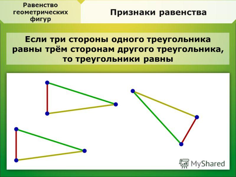 Равенство геометрических фигур Признаки равенства Если три стороны одного треугольника равны трём сторонам другого треугольника, то треугольники равны