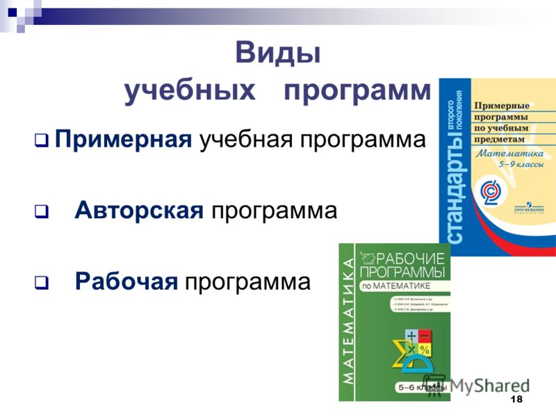 Виды учебных программ Примерная учебная программа Авторская программа Рабочая программа 18