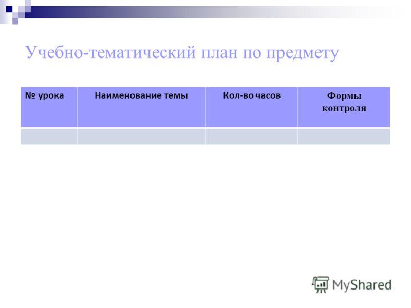 Учебно-тематический план по предмету урокаНаименование темыКол-во часов Формы контроля
