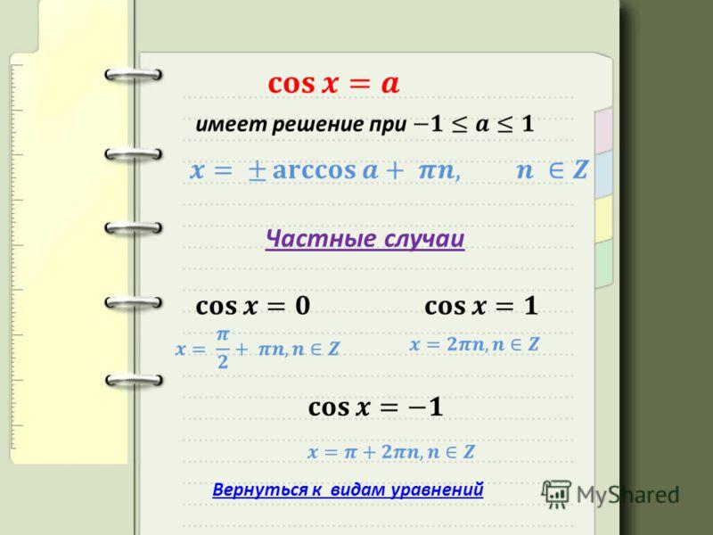 Частные случаи Вернуться к видам уравнений