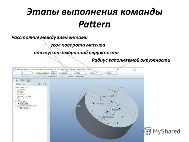 Этапы выполнения команды Pattern Расстояние между элементами угол поворота массива отступ от выбранной окружности Радиус заполняемой окружности