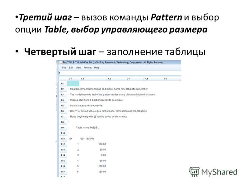 Третий шаг – вызов команды Pattern и выбор опции Table, выбор управляющего размера Четвертый шаг – заполнение таблицы