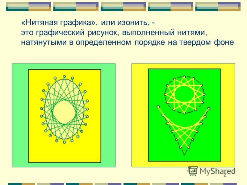 2 «Нитяная графика», или изонить, - это графический рисунок, выполненный нитями, натянутыми в определенном порядке на твердом фоне