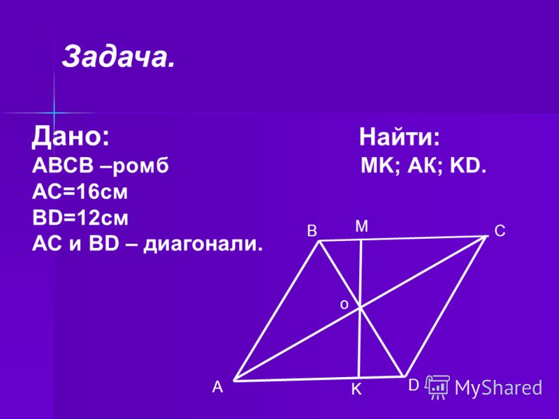 Дано: Найти: АВСВ –ромб MK; АК; KD. АС=16см ВD=12см АС и ВD – диагонали. M C D K A B o Задача.