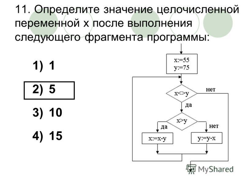 11. Определите значение целочисленной переменной х после выполнения следующего фрагмента программы: 1)1 2)5 3)10 4)15