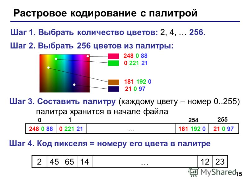 15 Растровое кодирование с палитрой Шаг 1. Выбрать количество цветов: 2, 4, … 256. Шаг 2. Выбрать 256 цветов из палитры: 248 0 88 0 221 21 181 192 0 21 0 97 Шаг 3. Составить палитру (каждому цвету – номер 0..255) палитра хранится в начале файла 248 0