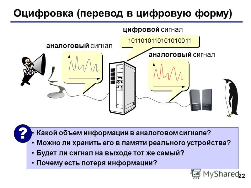 22 Оцифровка (перевод в цифровую форму) 1011010110101010011 аналоговый сигнал цифровой сигнал Какой объем информации в аналоговом сигнале? Можно ли хранить его в памяти реального устройства? Будет ли сигнал на выходе тот же самый? Почему есть потеря