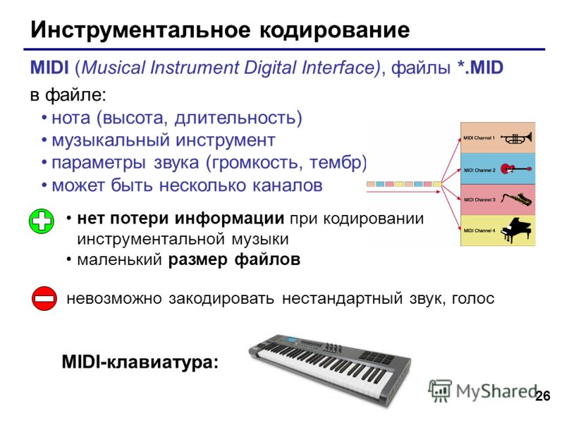 26 Инструментальное кодирование MIDI (Musical Instrument Digital Interface), файлы *.MID в файле: нота (высота, длительность) музыкальный инструмент параметры звука (громкость, тембр) может быть несколько каналов нет потери информации при кодировании