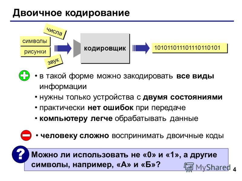 4 Двоичное кодирование в такой форме можно закодировать все виды информации нужны только устройства с двумя состояниями практически нет ошибок при передаче компьютеру легче обрабатывать данные человеку сложно воспринимать двоичные коды Можно ли испол