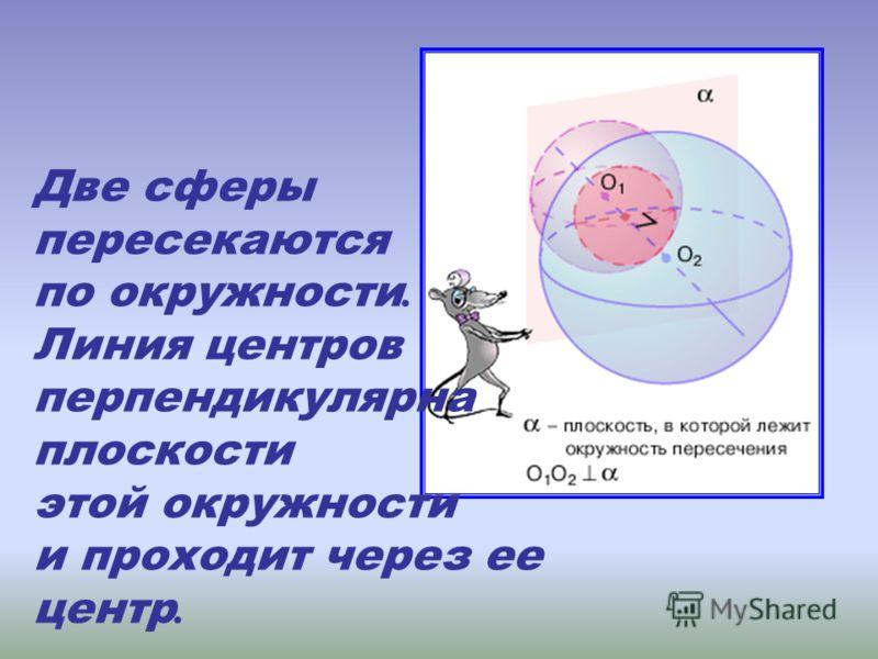 Две сферы пересекаются по окружности. Линия центров перпендикулярна плоскости этой окружности и проходит через ее центр.