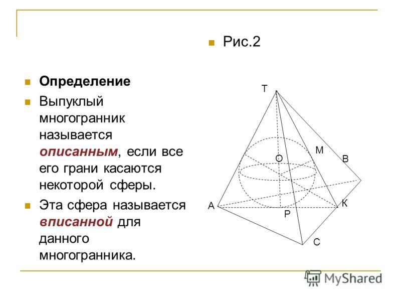 Определение Выпуклый многогранник называется описанным, если все его грани касаются некоторой сферы. Эта сфера называется вписанной для данного многогранника. С Рис.2 Т В О А К М Р