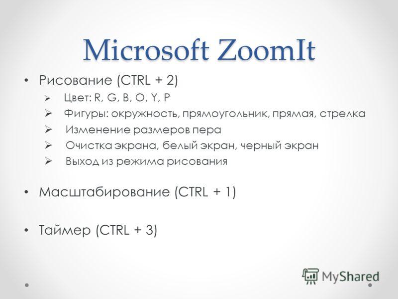 Рисование (CTRL + 2) Цвет: R, G, B, O, Y, P Фигуры: окружность, прямоугольник, прямая, стрелка Изменение размеров пера Очистка экрана, белый экран, черный экран Выход из режима рисования Масштабирование (CTRL + 1) Таймер (CTRL + 3)