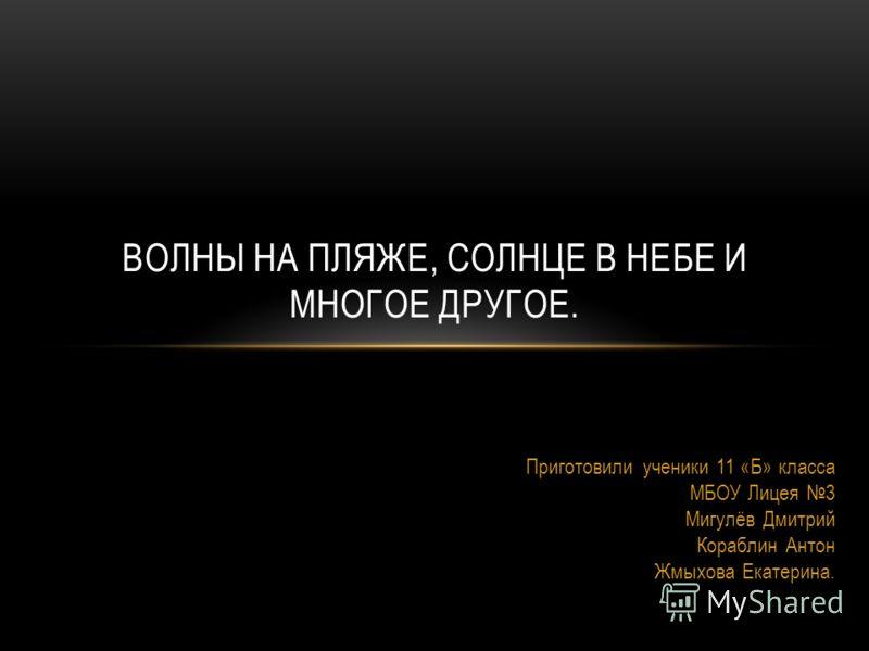 Приготовили ученики 11 «Б» класса МБОУ Лицея 3 Мигулёв Дмитрий Кораблин Антон Жмыхова Екатерина. ВОЛНЫ НА ПЛЯЖЕ, СОЛНЦЕ В НЕБЕ И МНОГОЕ ДРУГОЕ.