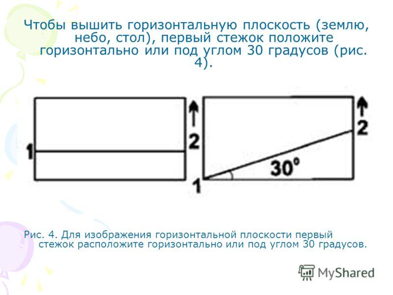 Чтобы вышить горизонтальную плоскость (землю, небо, стол), первый стежок положите горизонтально или под углом 30 градусов (рис. 4). Рис. 4. Для изображения горизонтальной плоскости первый стежок расположите горизонтально или под углом 30 градусов.