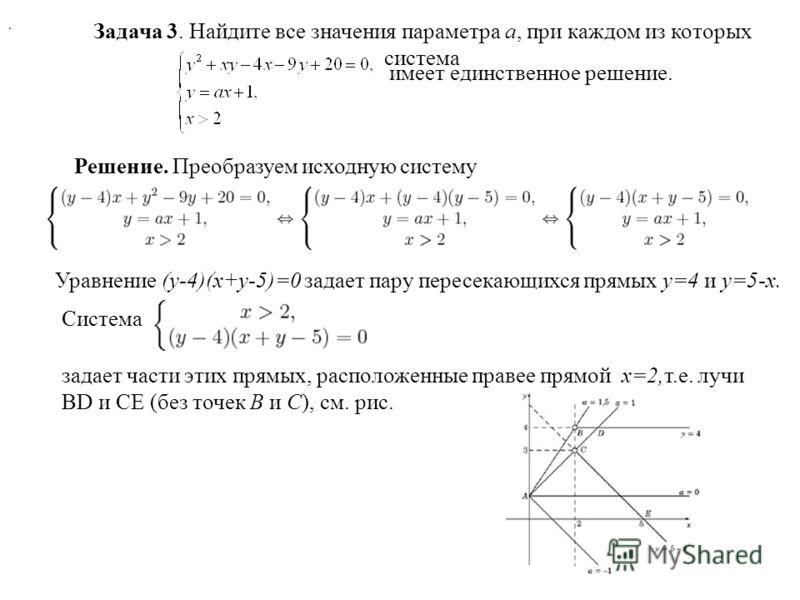 Задача 3. Найдите все значения параметра a, при каждом из которых система имеет единственное решение. Решение. Преобразуем исходную систему. Уравнение (y-4)(x+y-5)=0 задает пару пересекающихся прямых y=4 и y=5-x. Система задает части этих прямых, рас