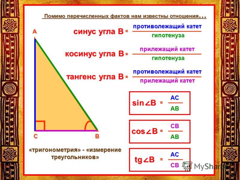 СВ А противолежащий катет гипотенуза ...: www.myshared.ru/slide/338123