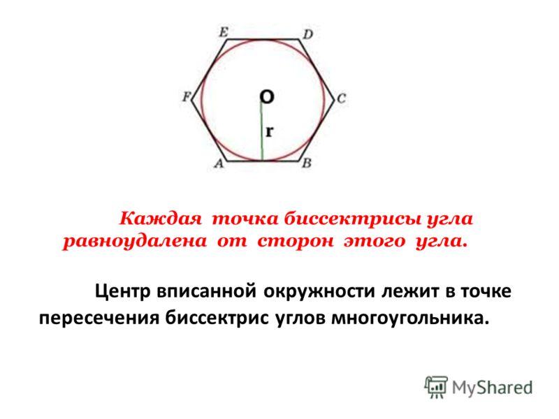 Центр вписанной окружности лежит в точке пересечения биссектрис углов многоугольника. Каждая точка биссектрисы угла равноудалена от сторон этого угла.