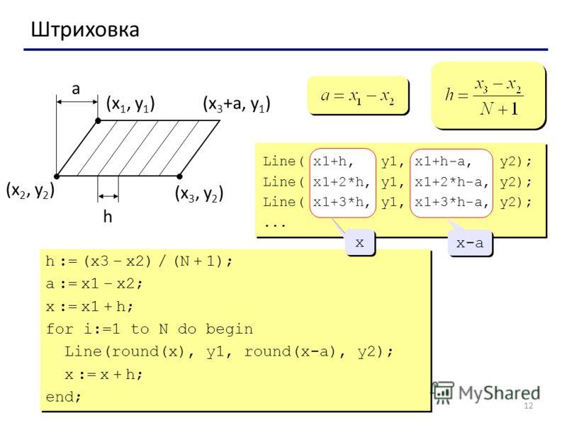 12 Штриховка (x 1, y 1 ) (x 2, y 2 ) (x 3, y 2 ) a h (x 3 +a, y 1 ) Line( x1+h, y1, x1+h-a, y2); Line( x1+2*h, y1, x1+2*h-a, y2); Line( x1+3*h, y1, x1+3*h-a, y2);... h := (x3 – x2) / (N + 1); a := x1 – x2; x := x1 + h; for i:=1 to N do begin Line(rou