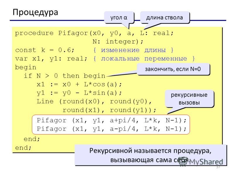 37 Процедура угол α длина ствола procedure Pifagor(x0, y0, a, L: real; N: integer); const k = 0.6; { изменение длины } var x1, y1: real; { локальные переменные } begin if N > 0 then begin x1 := x0 + L*cos(a); y1 := y0 - L*sin(a); Line (round(x0), rou