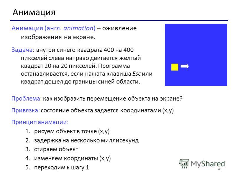 41 Анимация Анимация (англ. animation) – оживление изображения на экране. Задача: внутри синего квадрата 400 на 400 пикселей слева направо двигается желтый квадрат 20 на 20 пикселей. Программа останавливается, если нажата клавиша Esc или квадрат доше