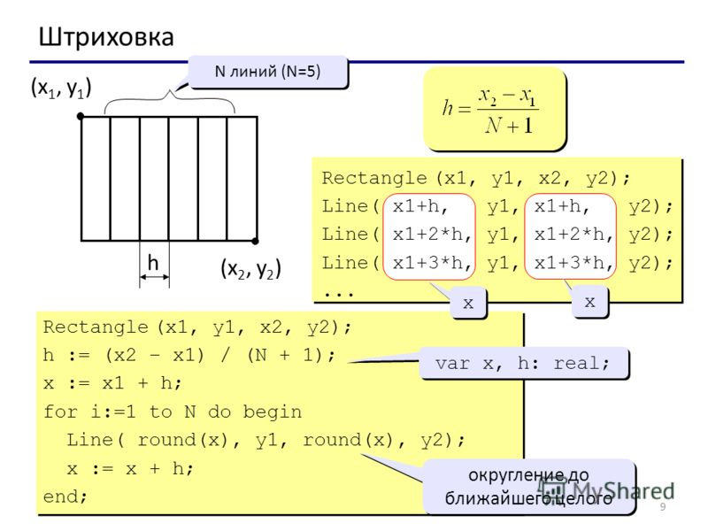 9 Штриховка (x 1, y 1 ) (x 2, y 2 ) N линий (N=5) h Rectangle (x1, y1, x2, y2); Line( x1+h, y1, x1+h, y2); Line( x1+2*h, y1, x1+2*h, y2); Line( x1+3*h, y1, x1+3*h, y2);... Rectangle (x1, y1, x2, y2); h := (x2 – x1) / (N + 1); x := x1 + h; for i:=1 to