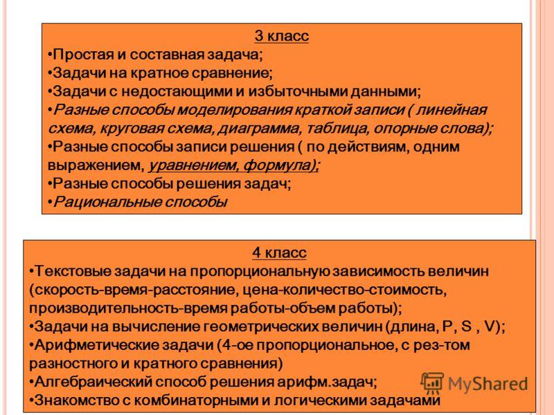 3 класс Простая и составная задача; Задачи на кратное сравнение; Задачи с недостающими и избыточными данными; Разные способы моделирования краткой записи ( линейная схема, круговая схема, диаграмма, таблица, опорные слова); Разные способы записи реше