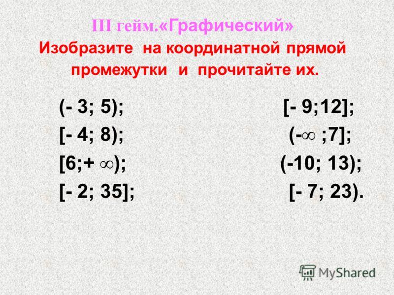 (- 3; 5); [- 9;12]; [- 4; 8); (- ;7]; [6;+ ); (-10; 13); [- 2; 35]; [- 7; 23). III гейм. «Графический» Изобразите на координатной прямой промежутки и прочитайте их.