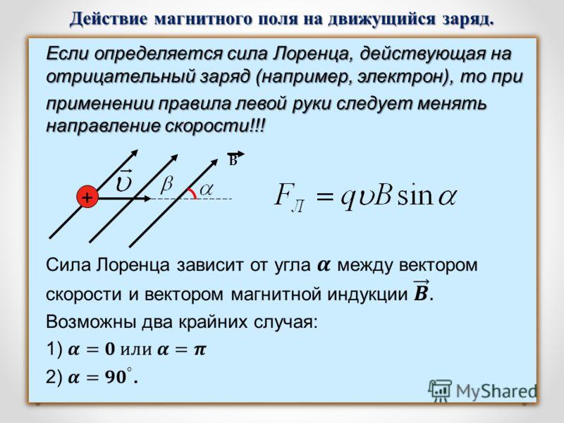 Действие магнитного поля на движущийся заряд. B +