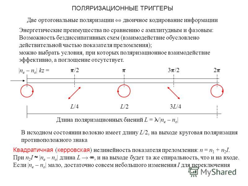 ПОЛЯРИЗАЦИОННЫЕ ТРИГГЕРЫ Две ортогональные поляризации двоичное кодирование информации Энергетические преимущества по сравнению с амплитудным и фазовым: Возможность бездиссипативных схем (взаимодействие обусловлено действительной частью показателя пр
