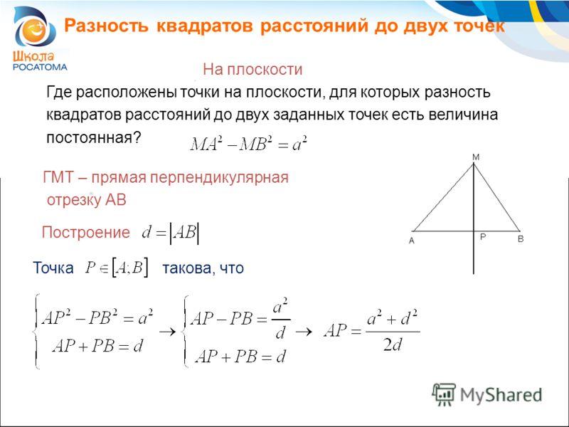 Разность квадратов расстояний до двух точек На плоскости ГМТ – прямая перпендикулярная отрезку AB Где расположены точки на плоскости, для которых разность квадратов расстояний до двух заданных точек есть величина постоянная? Построение Точкатакова, ч