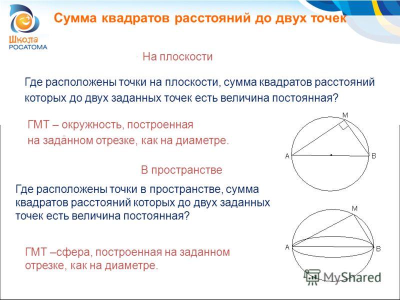 Сумма квадратов расстояний до двух точек На плоскости Где расположены точки на плоскости, сумма квадратов расстояний которых до двух заданных точек есть величина постоянная? ГМТ – окружность, построенная на заданном отрезке, как на диаметре. В простр