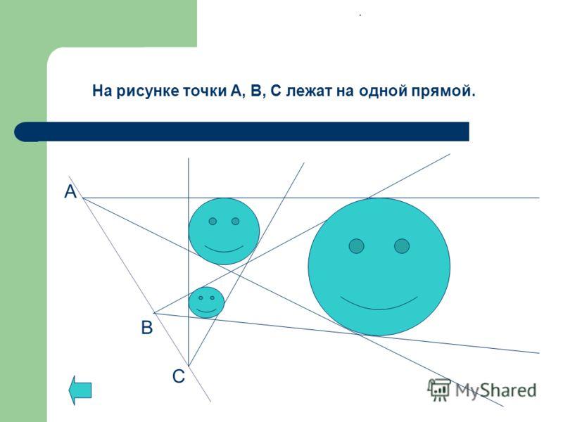 А С В На рисунке точки А, В, С лежат на одной прямой..