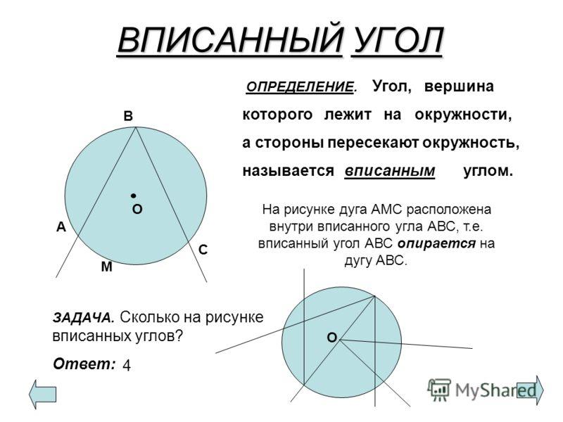 ВПИСАННЫЙУГОЛ ВПИСАННЫЙ УГОЛ В А С О ОПРЕДЕЛЕНИЕ. Угол, вершина которого лежит на окружности, а стороны пересекают окружность, называется углом. ЗАДАЧА. Сколько на рисунке вписанных углов? Ответ: О 4 вписанным М На рисунке дуга АМС расположена внутри