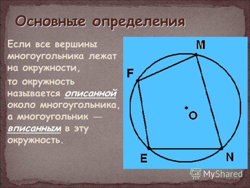 Основные определения Если все вершины многоугольника лежат на окружности, то окружность называется описанной около многоугольника, а многоугольник вписанным в эту окружность.