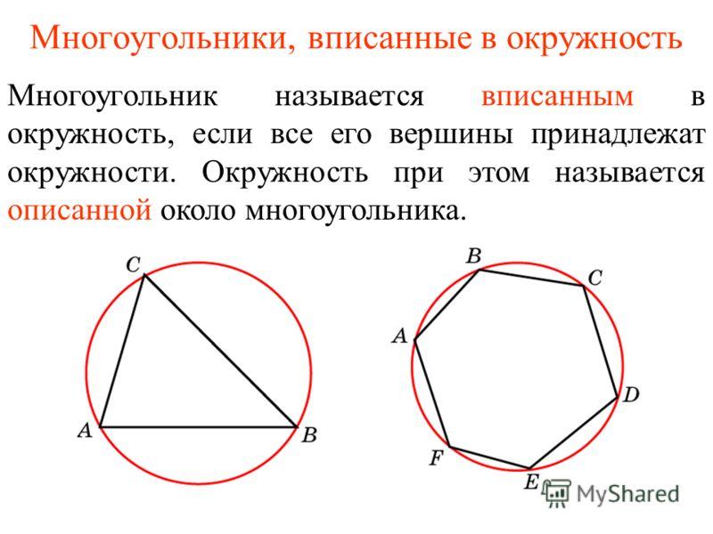 Многоугольники, вписанные в окружность Многоугольник называется вписанным в окружность, если все его вершины принадлежат окружности. Окружность при этом называется описанной около многоугольника.