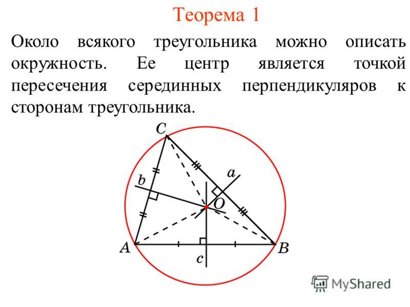 Теорема 1 Около всякого треугольника можно описать окружность. Ее центр является точкой пересечения серединных перпендикуляров к сторонам треугольника.