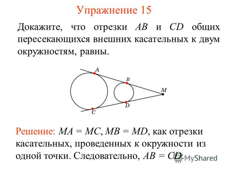 Упражнение 15 Докажите, что отрезки АВ и CD общих пересекающихся внешних касательных к двум окружностям, равны. Решение: MA = MC, MB = MD, как отрезки касательных, проведенных к окружности из одной точки. Следовательно, AB = CD.