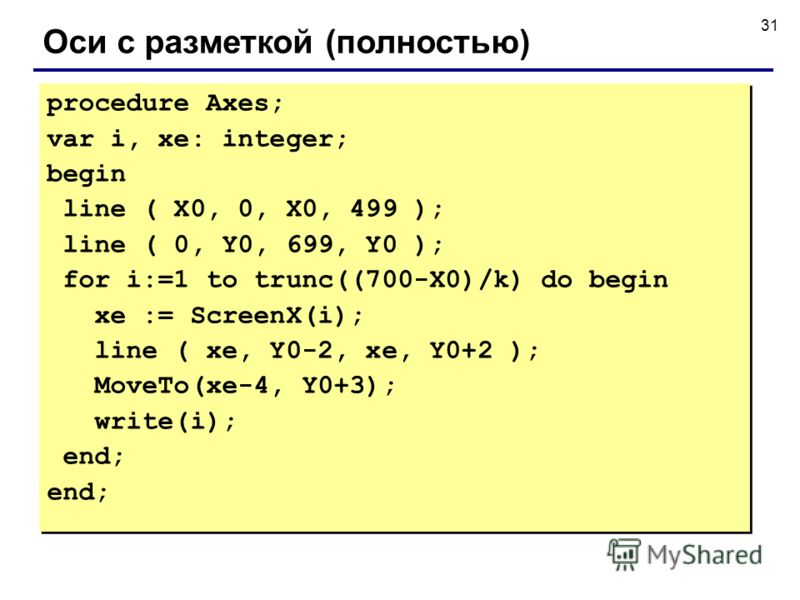 31 Оси с разметкой (полностью) procedure Axes; var i, xe: integer; begin line ( X0, 0, X0, 499 ); line ( 0, Y0, 699, Y0 ); for i:=1 to trunc((700-X0)/k) do begin xe := ScreenX(i); line ( xe, Y0-2, xe, Y0+2 ); MoveTo(xe-4, Y0+3); write(i); end; proced