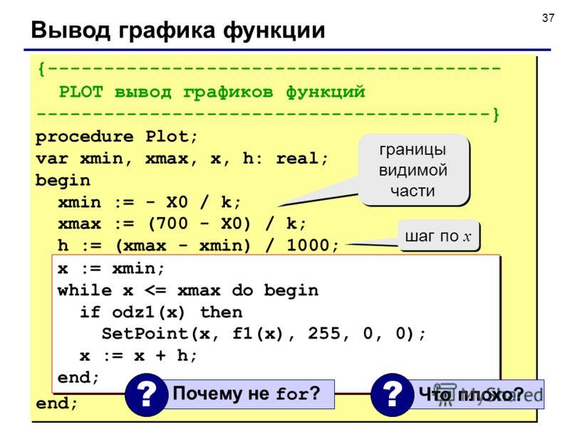 37 Вывод графика функции {---------------------------------------- PLOT вывод графиков функций ----------------------------------------} procedure Plot; var xmin, xmax, x, h: real; begin xmin := - X0 / k; xmax := (700 - X0) / k; h := (xmax - xmin) /